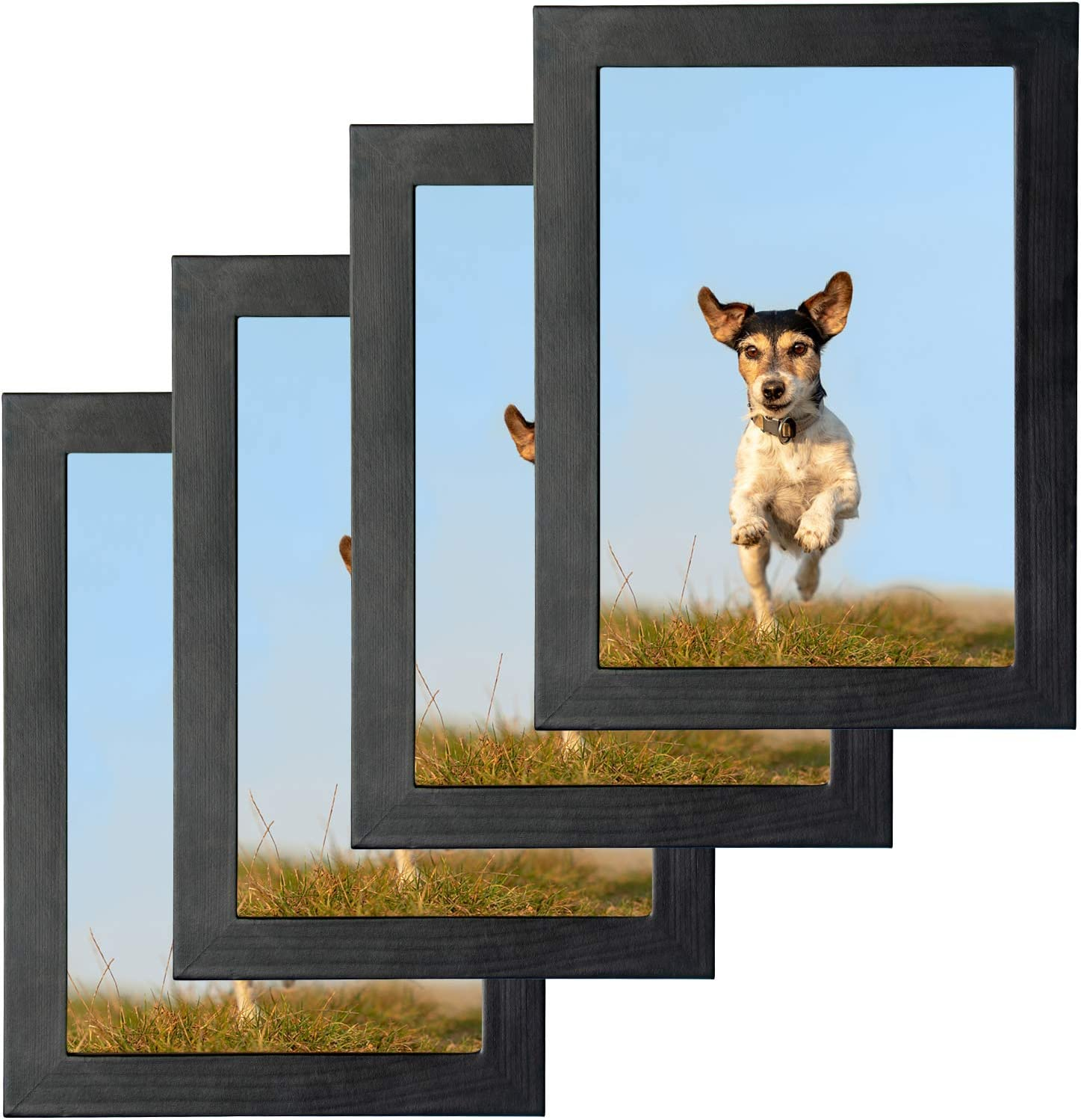 ZALLO Picture Frames Set of 4, 9x11 Photo Frames for Desktop Display and Wall Mounting Indoor Decor (Black)