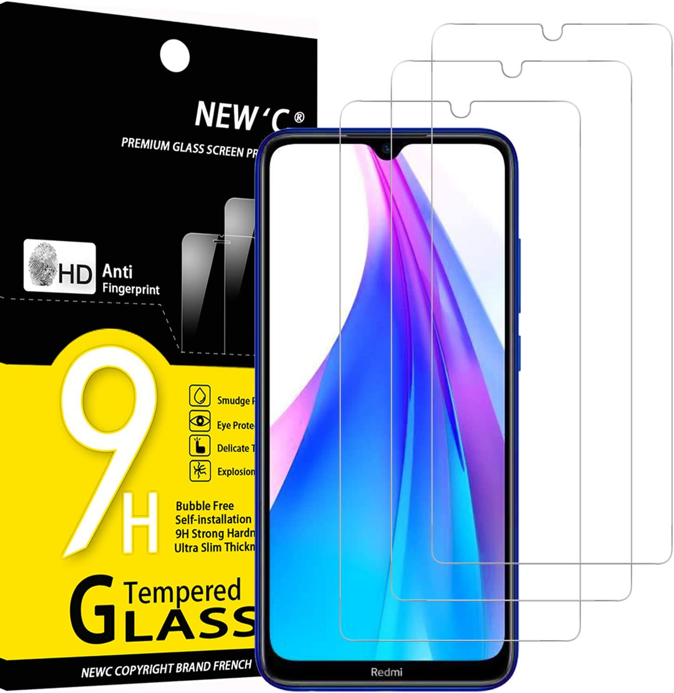 NEW'C 3 Unidades, Protector de Pantalla para Xiaomi Redmi Note 8T, Antiarañazos, Antihuellas, Sin Burbujas, Dureza 9H, 0.33 mm Ultra Transparente, Vidrio Templado Ultra Resistente