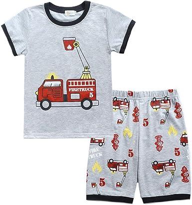 2 Piezas Pijamas Niños Manga Corta Algodon Camiseta y Pantalón Corto Conjunto Ropa Chico/Camión de Bomberos/Barca/Motocicleta Patrón