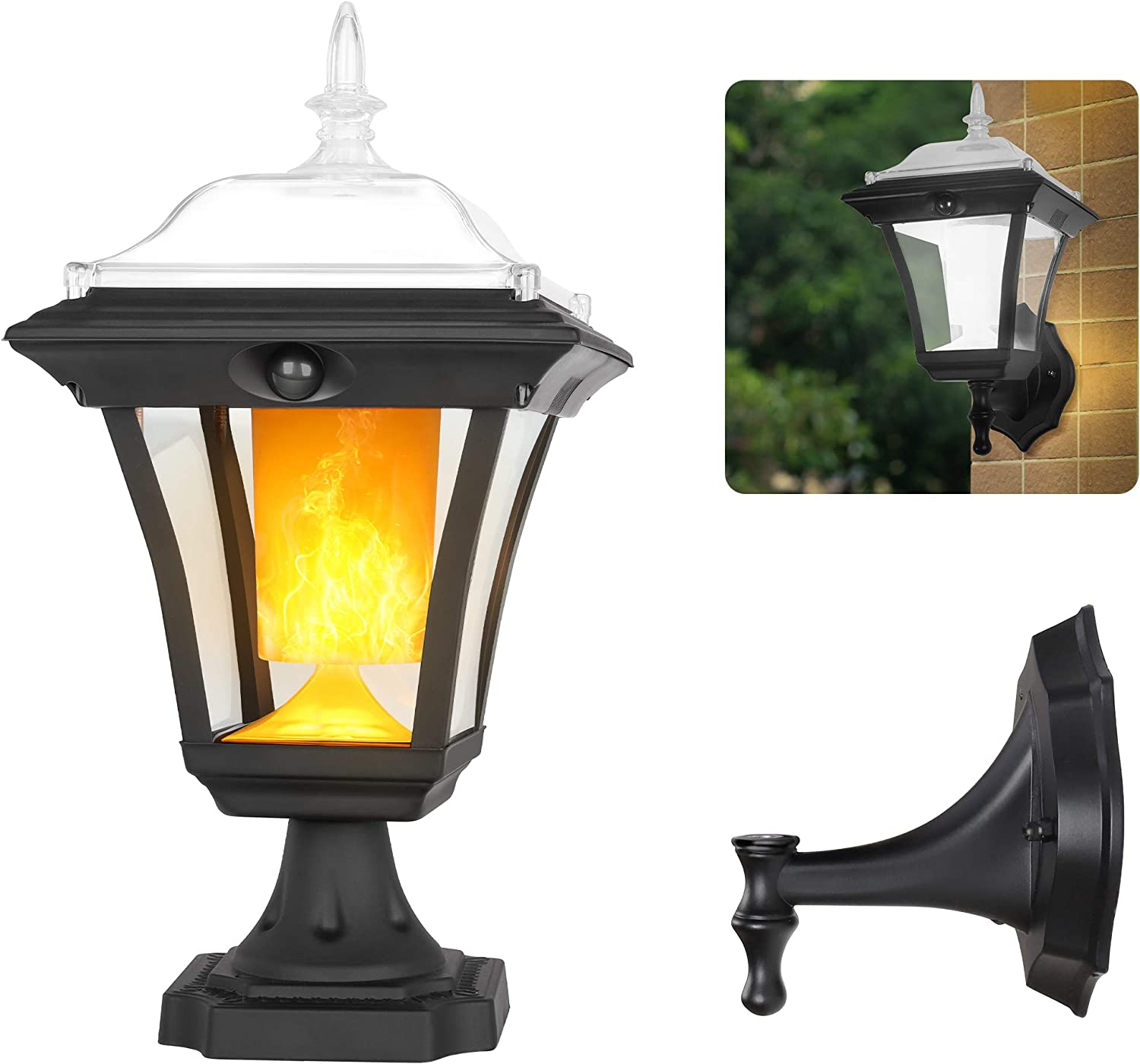 Solar Light Outdoor, Flickering Flame Wall Light Fixture, 2-in-1 Motion Sensor Post Light Porch Light, Dusk to Dawn Auto ON/Off, Waterproof, Landscape Deck Light for Garden Patio Doorway, 1 Pack