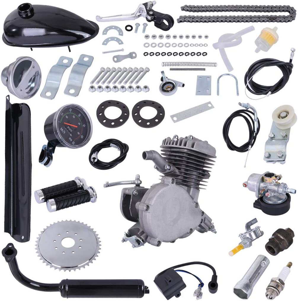 """Upgrade 80cc 2 Stroke Cycle Motor Kit Motorized Bike Kit, Petrol Gas Bicycle Engine Kit with Speedoemter Super Fuel-efficient for 26"""" and 28"""" Bikes"""