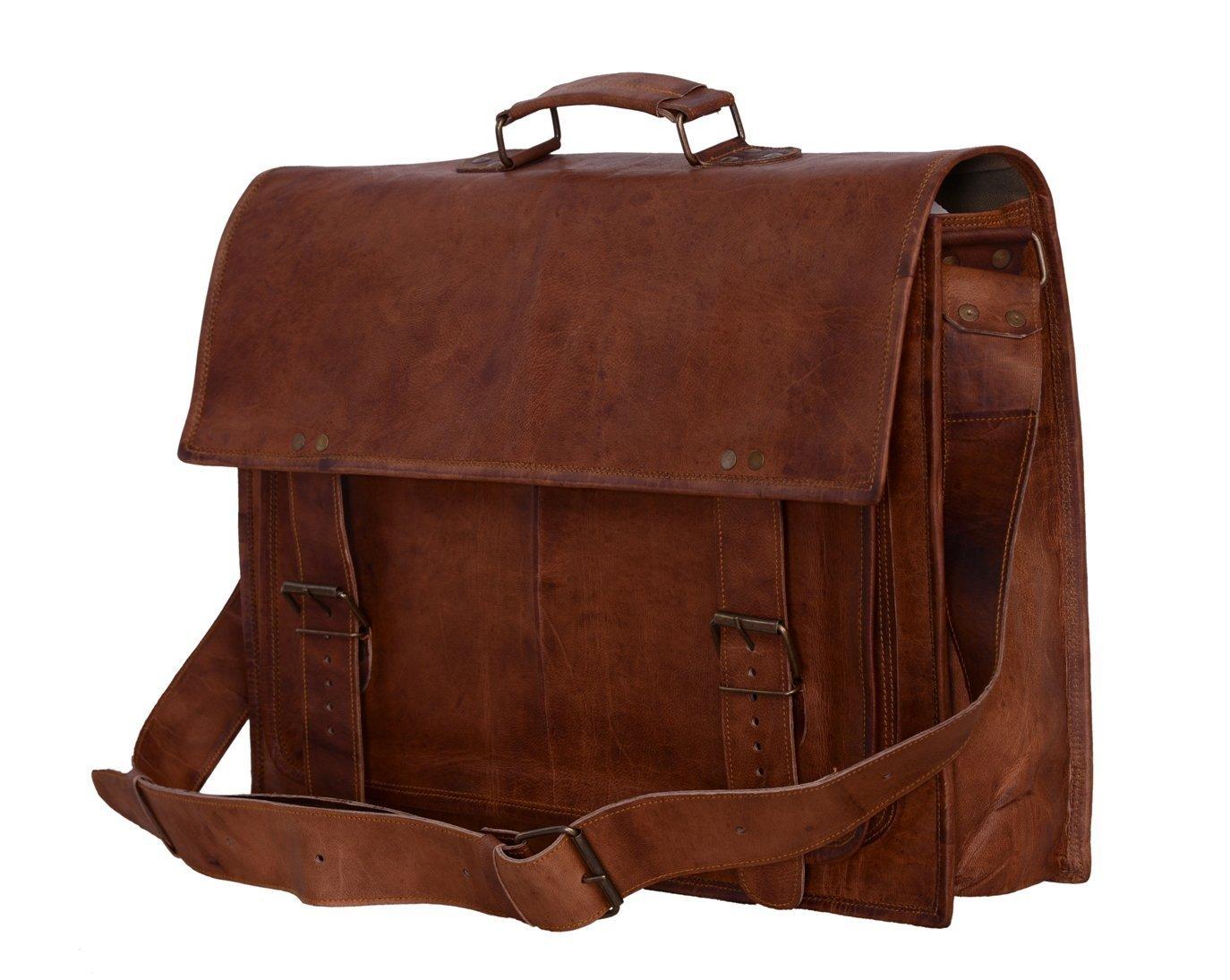 TUZECH Fine Sober Gentlemen Leather Briefcase bag Messenger Bag Laptop Bag 11 Inches by Tuzech (Image #2)