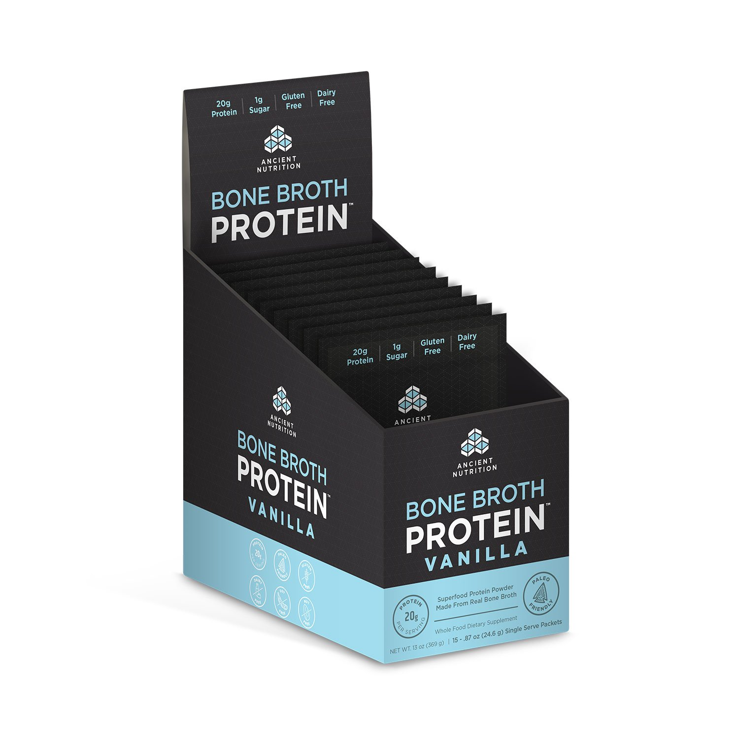 Ancient Nutrition Bone Broth Protein Powder, Vanilla Flavor, 15 Single Packets by Ancient Nutrition