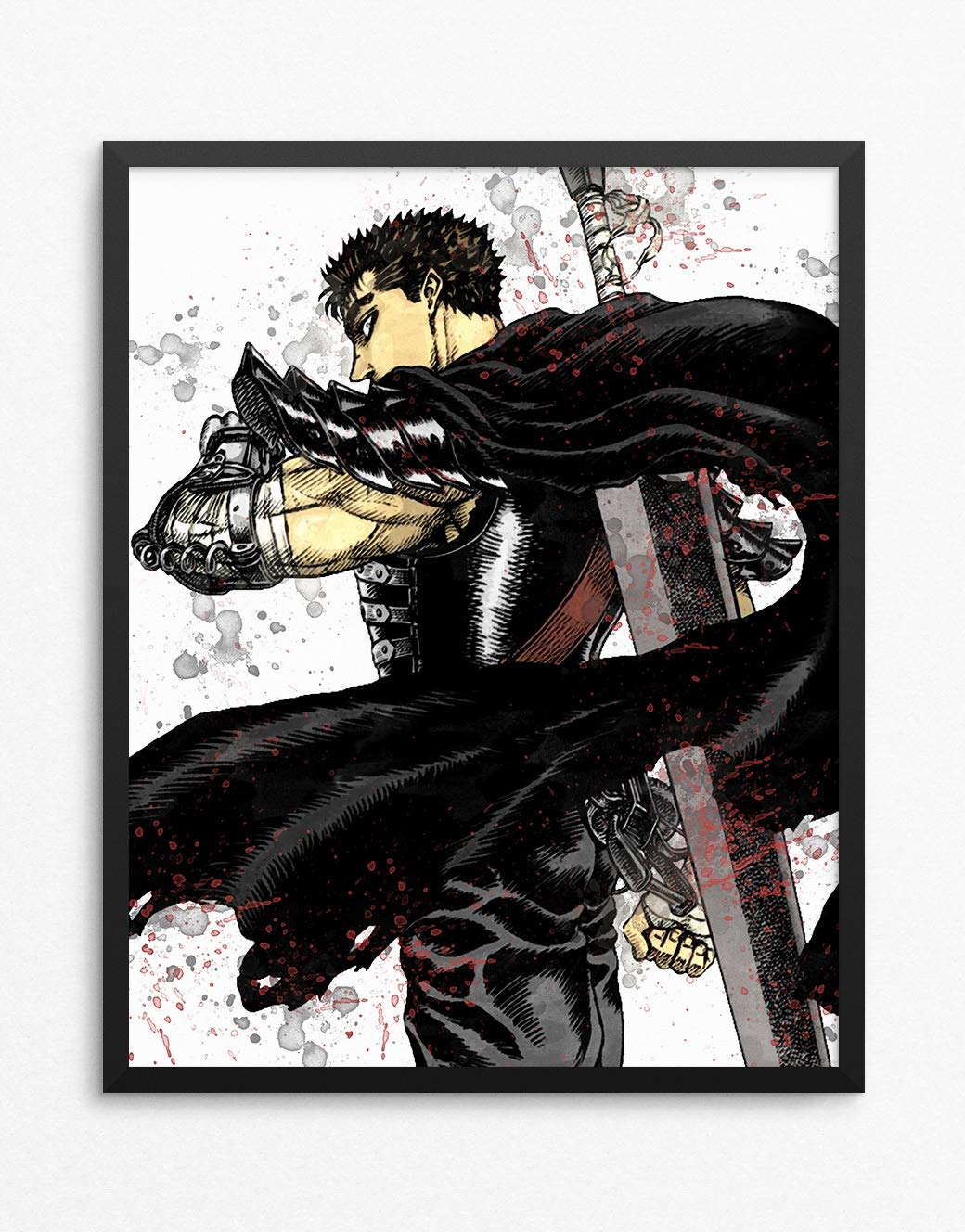 Amazon com berserk print guts poster berserk poster guts print anime print watercolor n 002 16 x 20 inch posters prints