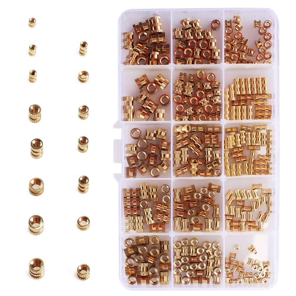 Kit di dadi per inserti con inserto filettato in ottone 330 pezzi con scatola di plastica trasparente Set di dadi zigrinati per stampa 3D