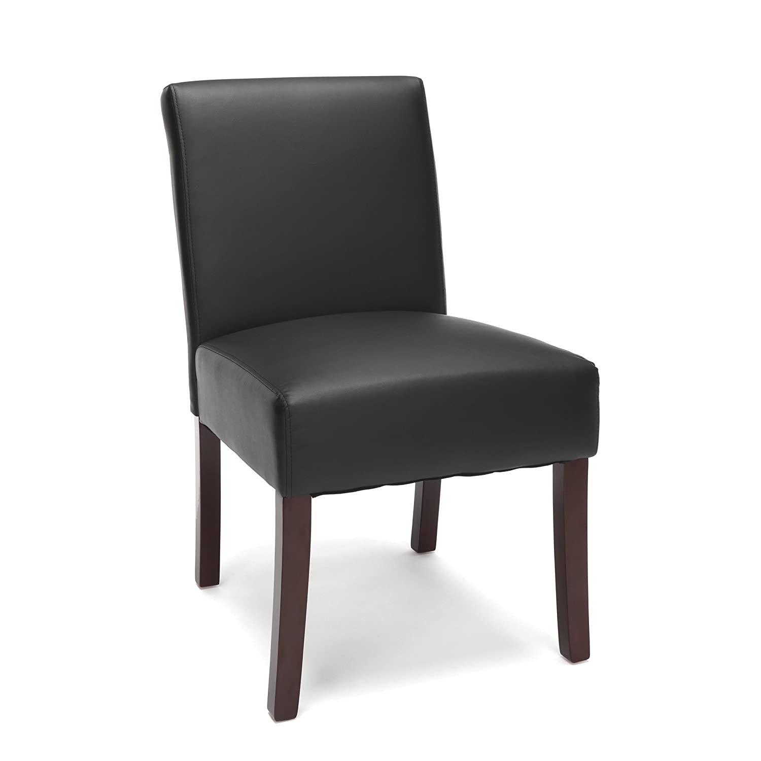 Essentials Executive Guest Chair - Armless Leather Reception Chair, Black
