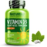 NATURELO Vitamin D - 5000 IU - Plant Based - From Lichen - Best Natural D3 Supplement for Immune System, Bone Support…