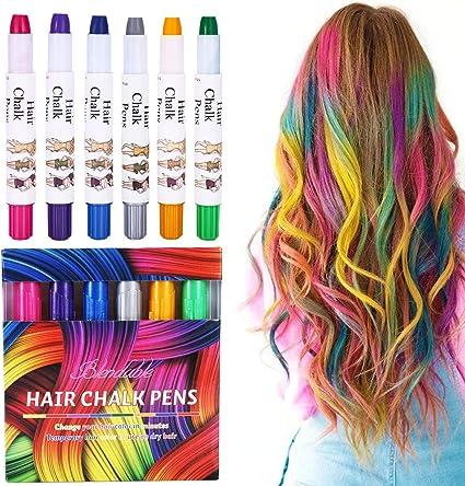 Pelo tiza, 6 colores Hair Chalk temporales No Tóxica – Tinte ...