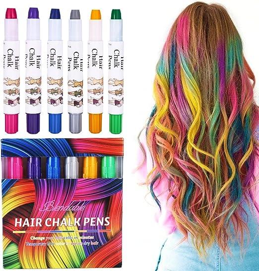 Tiza para pelo, 6 colores temporales, juego de tizas de pelo para niños y adolescentes, carnaval