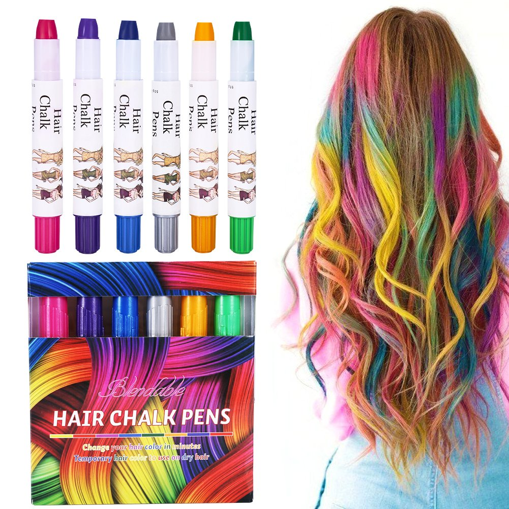 Hair Chalk Blue Spray 6 Colors Non-Toxic Temporary Color for Girls Boys, Ideal Christmas Birthday Party Easter Egg DIY Painting Gifts for Kids for Age 4 and Plus Brrnoo