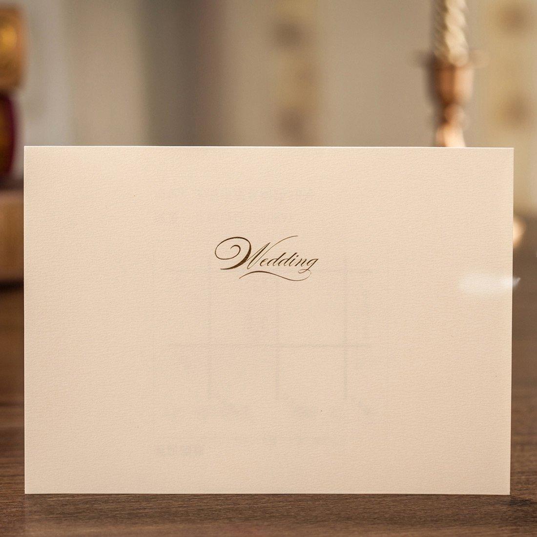 Wishmade Wedding Invitations Cards Kits 50 Sets White Horizontal ...