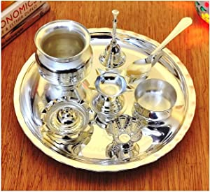 NOBILITY Silver Plated Glossy Pooja thali Set 8 Inch for Mandir Temple Festival Ethnic Puja Thali Gift for Diwali, Home, Office, Wedding Return