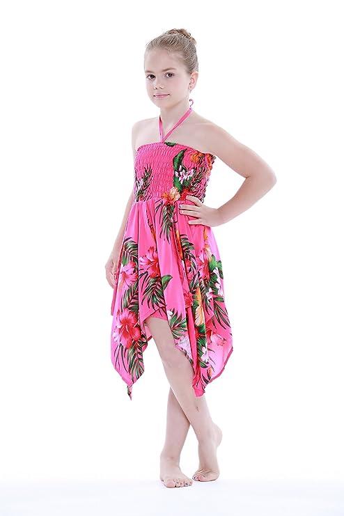 Niña gitano Botón desigual Hawaiian Luau vestido en Rosa caliente floral: Amazon.es: Ropa y accesorios