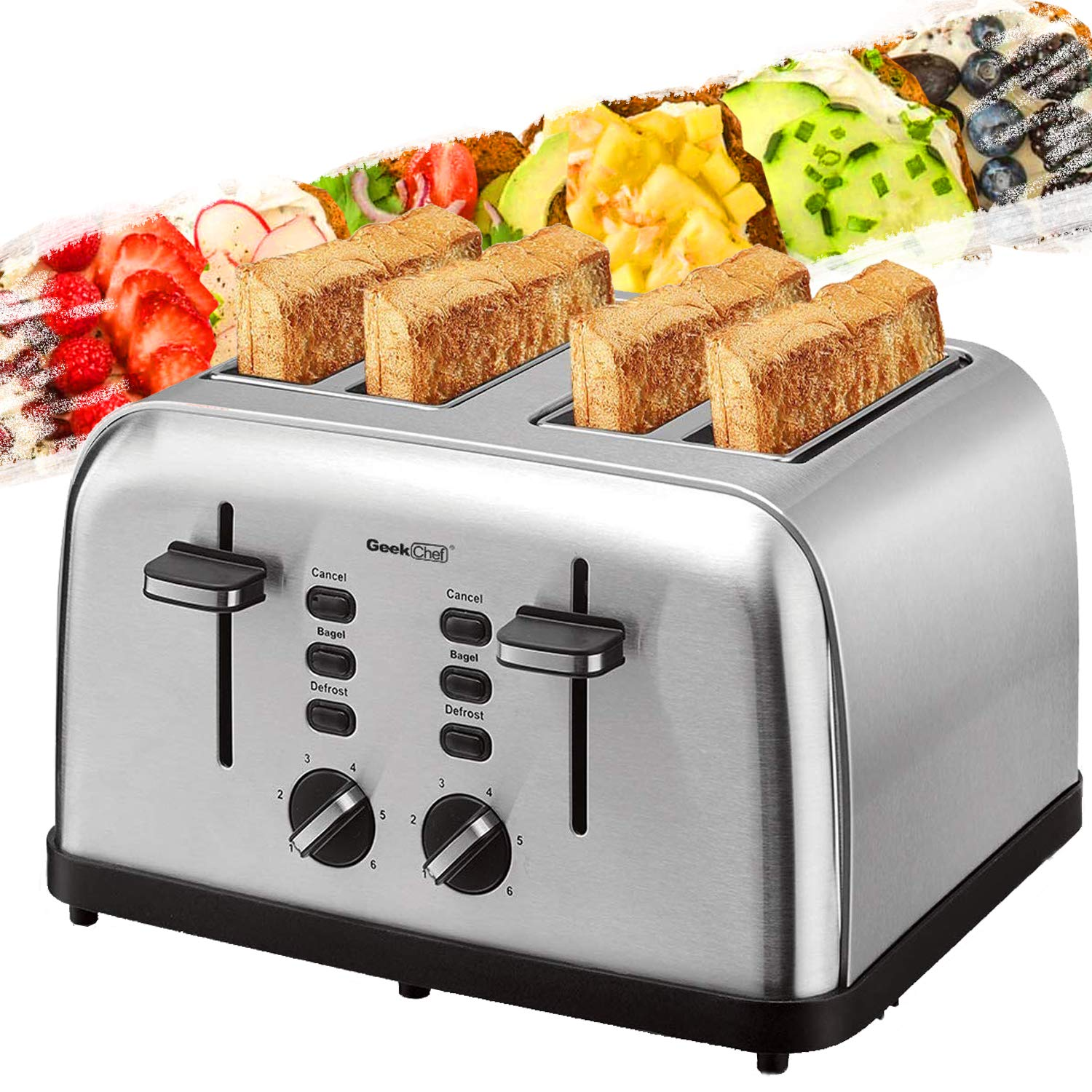 Toaster 4 Slice, Geek Chef Extra Wide Slots Stainless Steel Four Slice Toaster, Bagel/Defrost/Cancel Function 6 Browning Settings Auto Pop-up Remoable Crumb Tray (4-slice) by Geek Chef
