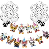 33PCS Dog Banner balloons for Dog Themed Party Decorations - 13pcs Dog Face banner & 20pcs Dog Paw Print Balloons for Dog Puppy Birthday Party Favors