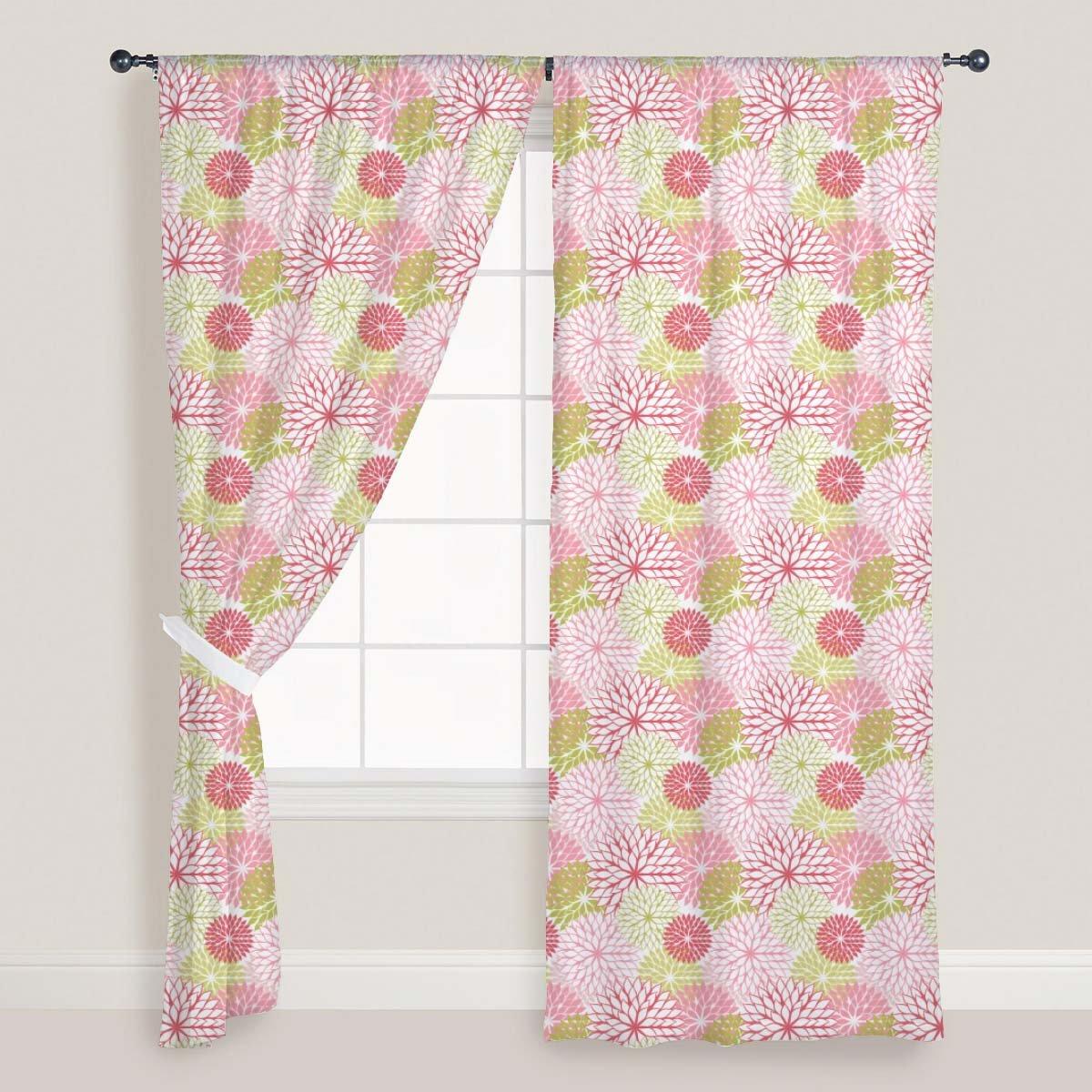 AZ Hand Draw Flowers Door & Window Curtain Satin 4feet x 9feet; SET OF 3 PCS