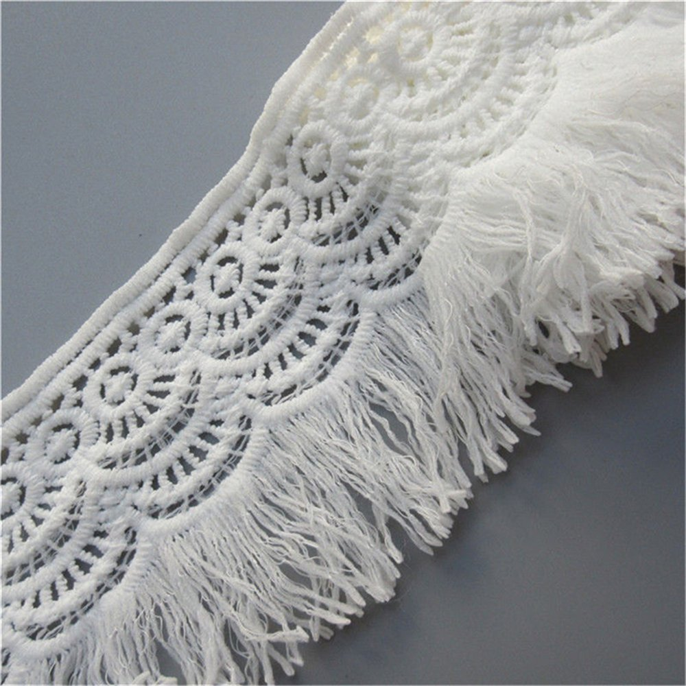 3 Meters Cotton Tassel Fringe Lace Edge Floral Trim Ribbon 8cm Width Vintage Style White Edging Trimmings Fabric Embroidered Applique Sewing Craft Wedding Bridal Dress Party Clothes Decoration Qiuda