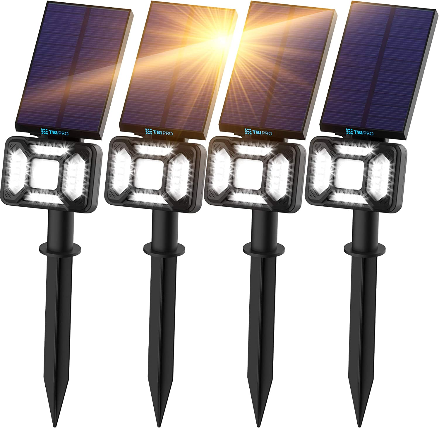 TBI Pro 27 LEDs Outdoor Solar Landscape Spotlights PRO IP65 Waterproof Wireless Solar Powered Landscaping Wall Light for Yard Garden Driveway Porch Pool Patio Cold White Adjustable 4 Pack