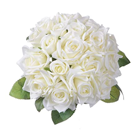 2a2015a702a Artiflr Artificial Flowers Rose Bouquet 2 Pack Fake Flowers Silk Plastic  Artificial White Roses 18 Heads