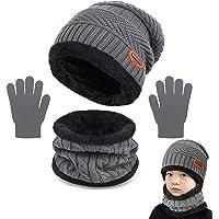 Yutdeng Niños Conjunto de Sombreros de Invierno y Bufanda Guantes Invierno Caliente Gorro de Beanie Cálido Elástico on…
