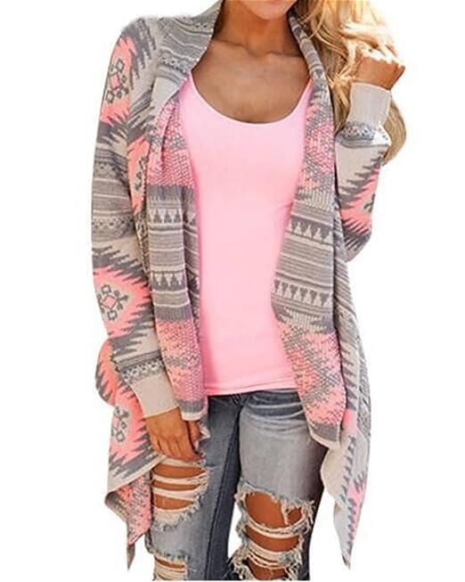 ZANZEA Mujeres Cardigans Moda Manga Larga Casual Suelto Chaqueta Coat Top Irregular Hot (ES 46