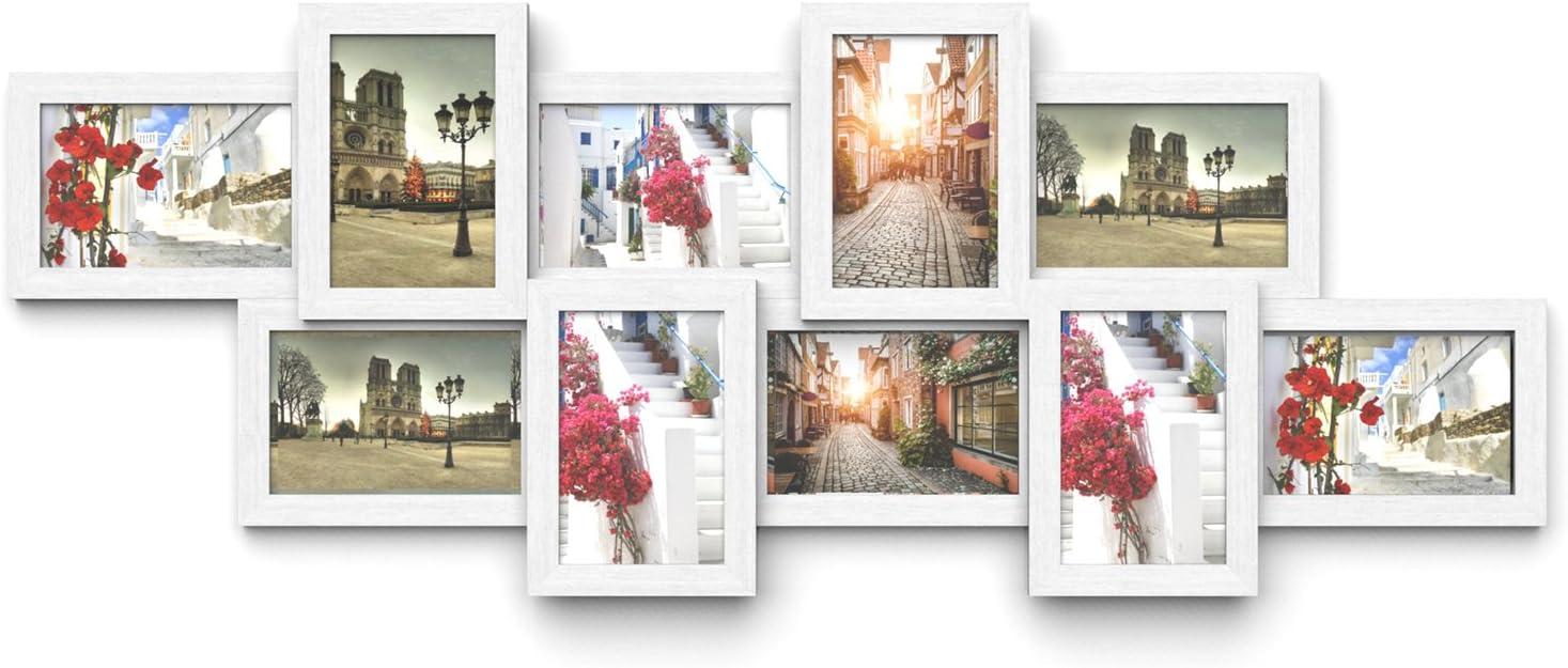 SONGMICS Marco de Fotos Collage para 10 Fotos de 10 x 15 cm, Hecho de Tableros MDF, Montaje en Pared, para Galería de Fotos, Requiere Ensamblaje, Blanco RPF21W