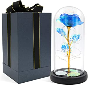 Blingstar Glass Rose, Forever Rose in Glass Dome with Fairy Lights, Blue Artificial Eternal Flower Light Up for Night Bedroom Decor, Gift for Mom Wife Girlfriend Her in Christmas Birthday Anniversary