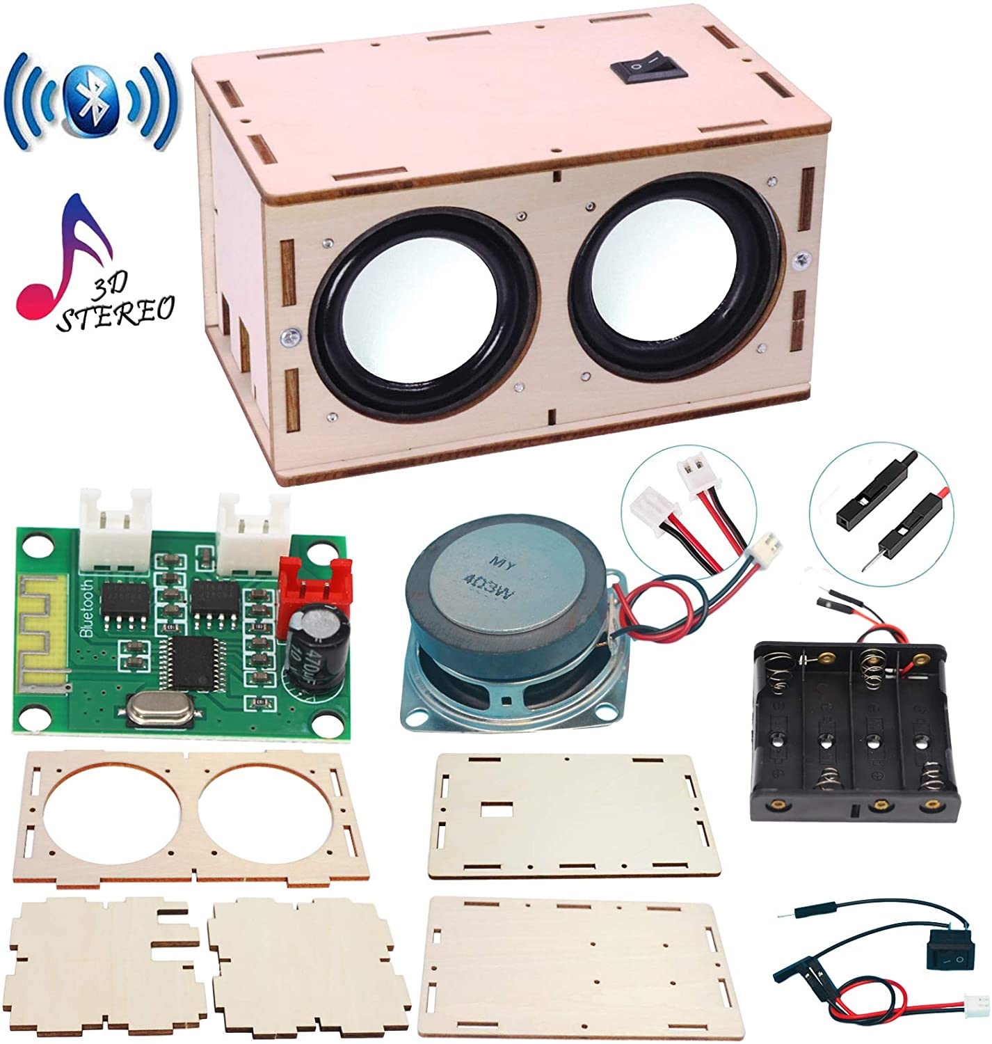 DIY Bluetooth Speaker Box Kit Electronic Sound Amplifier - Build Your Own  Portable Wood Case Bluetooth Speaker with Sound - Science Experiment and