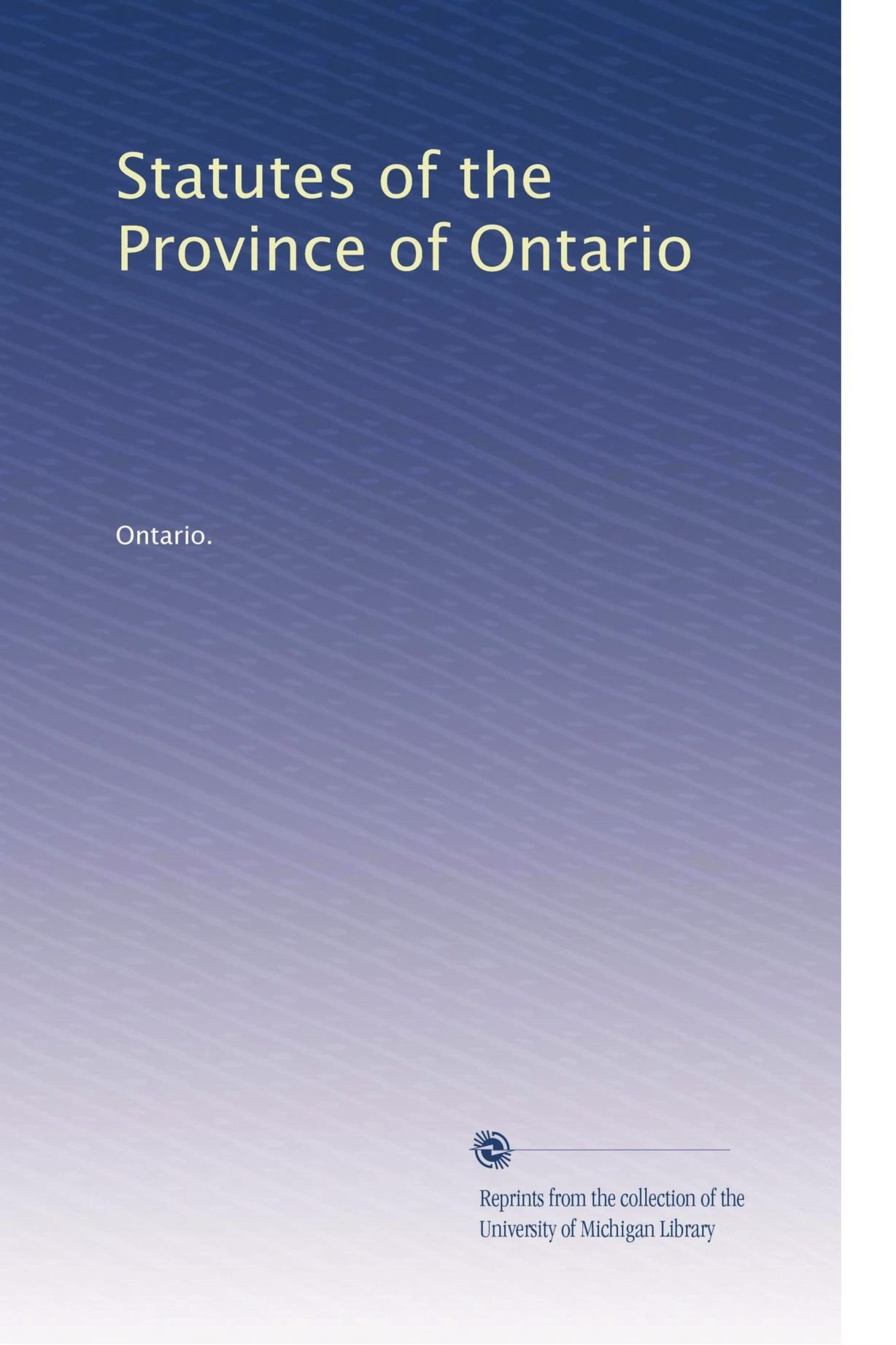 Statutes of the Province of Ontario (Volume 27) pdf