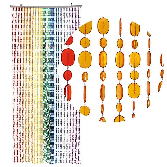 HAB & GUT -DV0222- Türvorhang OVAL, Mehrfarbig, 90 x 200 cm Perlenvorhang Pailettenvorhang