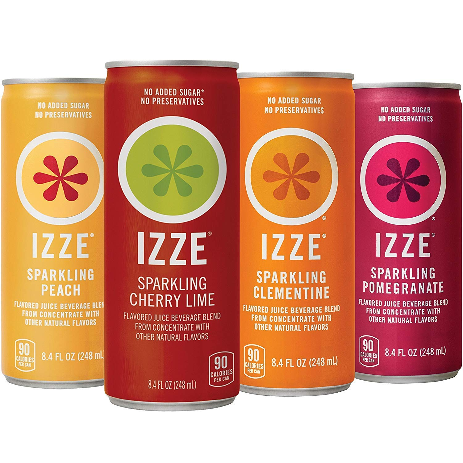 IZZE Sparkling Juice, 4 Flavor Sunset Variety Pack, 8.4 Fl Oz (24 Count)