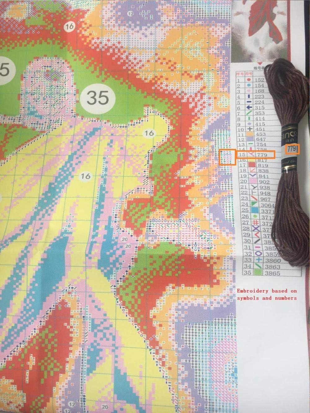 medio punto de cruz kit de punto de aguja tapiz Set de bordado tapiz Lady with Rose Juego de bordado de media cruz de 35x50cm./Incluye hilo de algod/ón multicapa cod.634#0110@