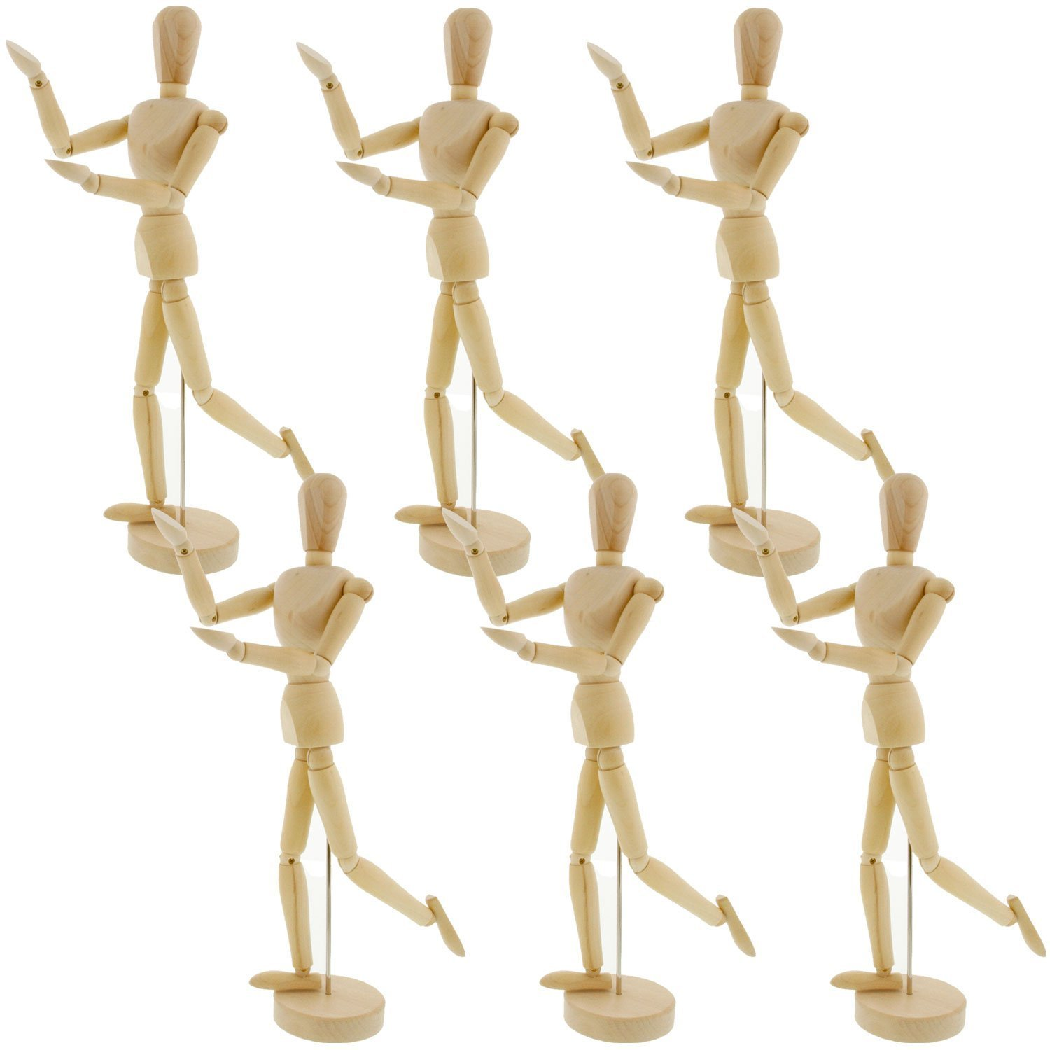 US Art Supply Wood 12'' Artist Drawing Manikin Articulated Mannequin with Base and Flexible Body - Perfect For Drawing the Human Figure (12'' Male) Pack of 6 Manikins