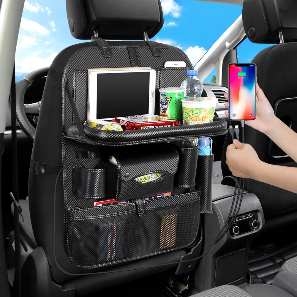 JIAKANUO Auto Car Seat Back Organizer Pocket,Car Pocket Organiser with Tablet Ipad Holder Mobile Tray 3USB Cables for Cellphones Kids Baby Travel PU Leather (PG12,3 Cables,with Tray,Carbon) by JIAKANUO (Image #3)