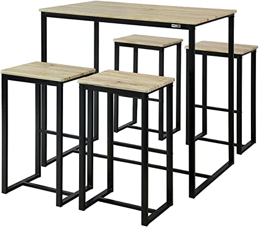 SoBuy OGT15-N Set Mesa Alta de Bar y 4 Taburetes Muebles Bar ...