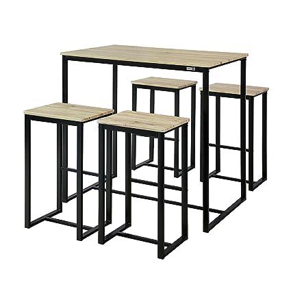 SoBuy OGT15-N Set Mesa Alta de Bar y 4 Taburetes Muebles Bar ...