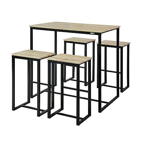 Bistrotisch Mit 4 Stühlen.Sobuy Ogt15 N 5 Teilig Bartisch Mit Stühlen Esstisch