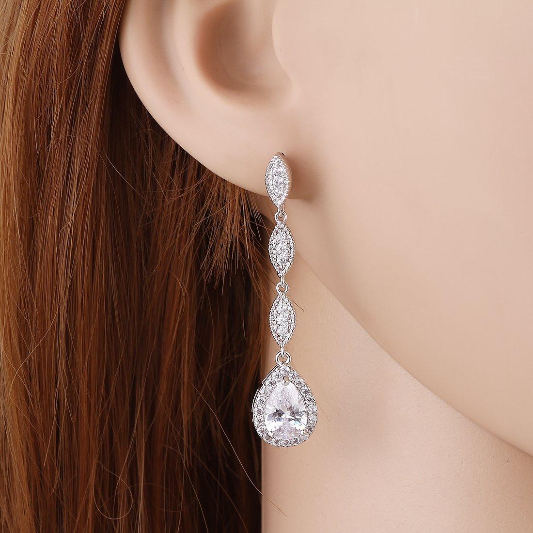 Wordless Love Teardrop Pear Shape CZ Necklace Pierced Earrings Women Wedding Jewelry Sets by Wordless Love (Image #3)