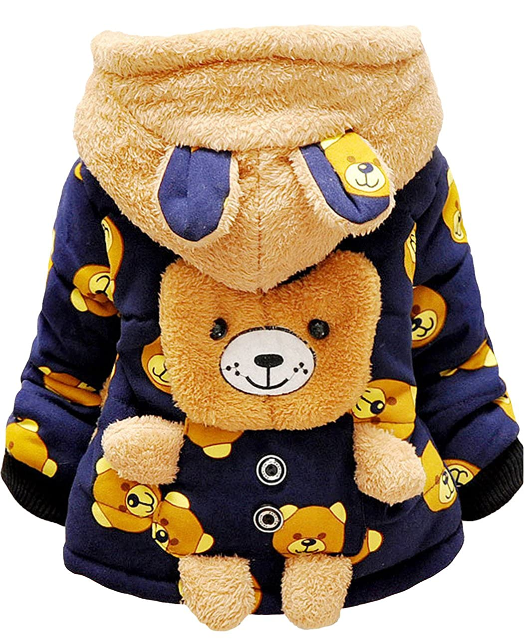 Baby Boys Cute Bear Hoodie Coats Winter Jackets Ears Outerwear for 9 12 Months 1 2 3 4 Year Kids