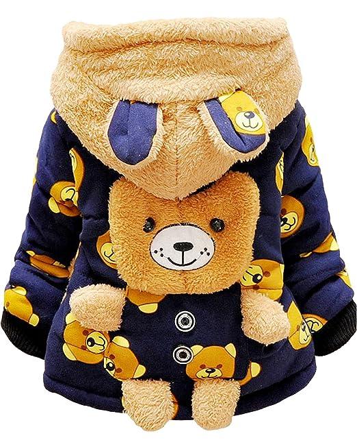 Tkria Chaqueta Bebé Niños Invierno Oso Outerwear Abrigos Cálido con Capucha , 0 - 3 Años