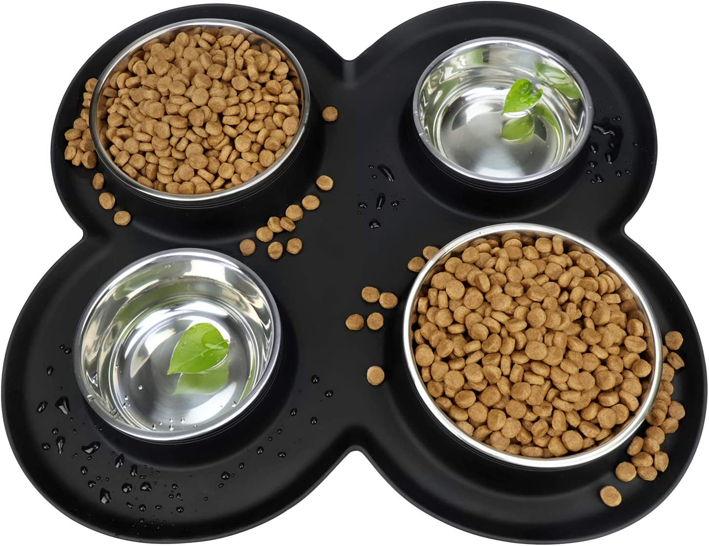 WINSEE 4 Litter Dogs Cats Bowls Feeder Stainless Steel with Safety Silicone Mat Set for Small Medium Dogs, No Spill Non Skid, Food & Water Bowls for Multiple Pets Black, 80 Oz