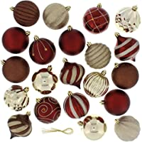 Festive 52 Piece Assorted Bauble Christmas Ornament Set (Maroon & Gold)