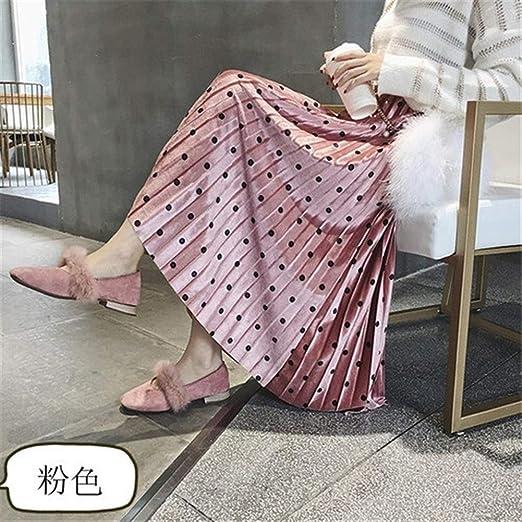 Haucalarm Falda Plisada, Falda Mujer Dot con Cintura elástica for ...