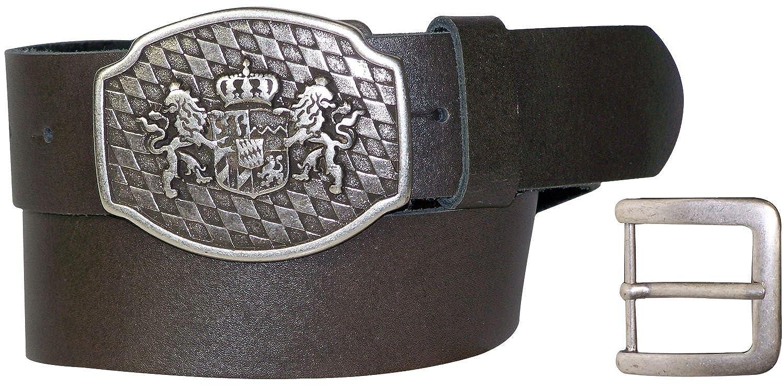 18087 4 cm braunes Trachtenleder Wappen mit L/öwe G/ürtel mit Bayernschnalle Fronhofer Trachteng/ürtel