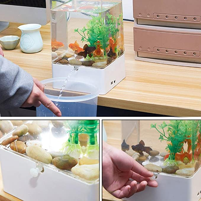 Aolvo Acuaponic Betta tanque de peces, mini tanque de agua de jardín con luces LED coloridas, kit de iniciación de acuario, tanque de acuario para ...