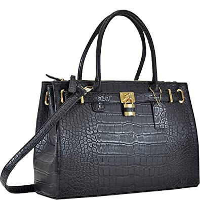 d33263884dc1 Dasein Faux Crocodile Leather Padlock Shoulder Bags (Black ...