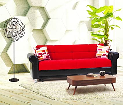 Amazon.com: Casamode Avalanche Sofa Bed Red Chenille ...