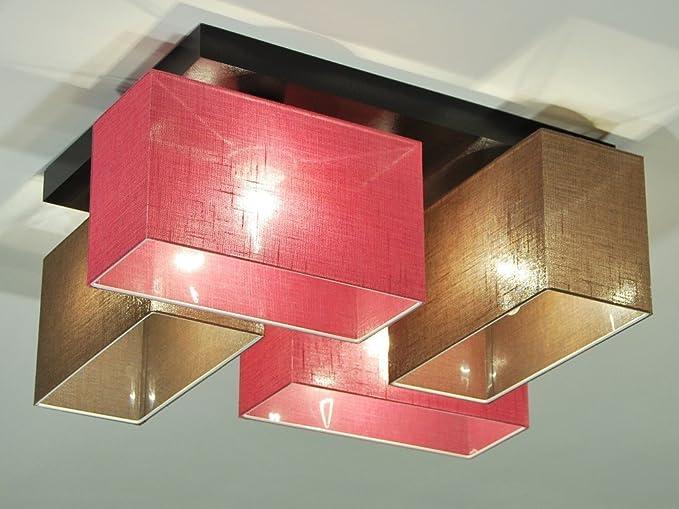 Plafoniera moderna in tessuto plafoniera rossa e marrone lenzuola