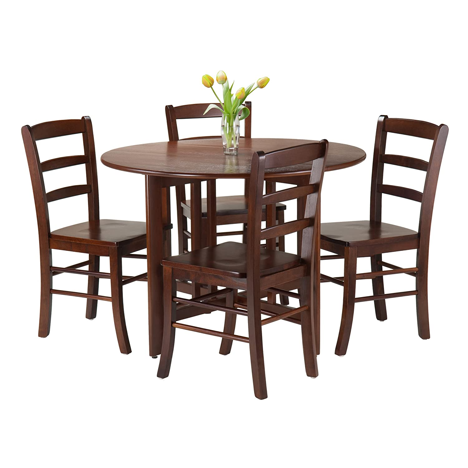 Amazoncom Winsome 5 Piece Alamo Round Drop Leaf Table With 4