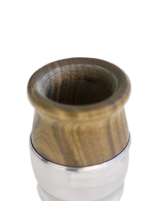 Sorbete Madera con Base Aluminio Producto Natural Hecho a Mano con Bombilla Set de Mate de Madera de Palo Santo Envuelto en Aluminio para Yerba Mate BALIBETOV Mate Argentino